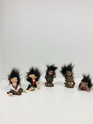 Candy Design Norway Forest Gnome Troll Doll Lot X5 Troll With Cat Violin Apple