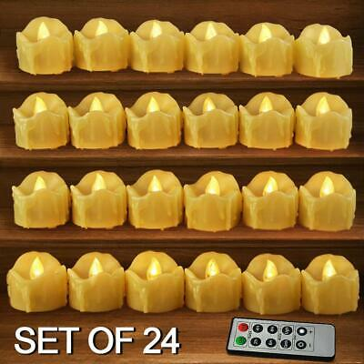Set Of 24 Led Votive Candles With Remote And Timer (cream) - Led Flameless Votiv