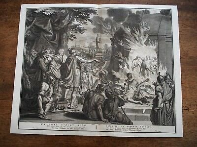 Antique De Hondt Bible Print 18th C Three Men In The Burning Fiery Furnace