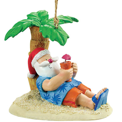 Cape Shore Santa Relaxing Under A Palm Tree Beach Break Holiday Ornament 871105