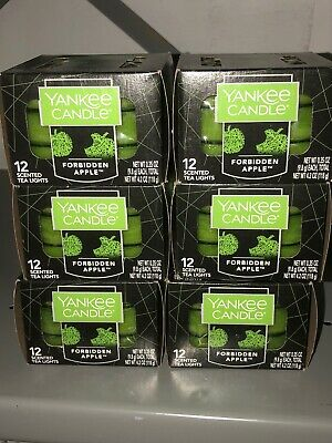 Lot Of 6 Yankee Candle Forbidden Apple Tea Lights (12 Per Box) X6~72 Tealights!