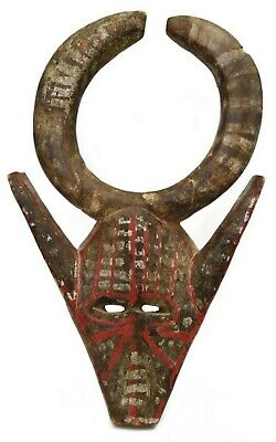 Antique African Tribal Zoomorphic Bobo Face Mask Mali Hand Painted