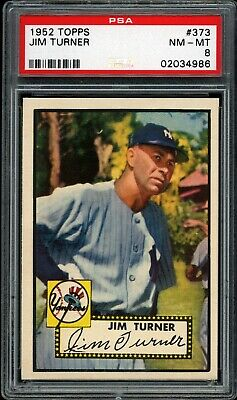 Jim Turner 1952 Topps Yankee Card High #373 Psa 8  *very Tough*