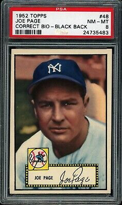 Joe Page 1952 Topps Yankee Black Back Low #48 Psa 8  *very Tough*