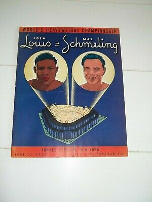 6/22/1938 Joe Louis Vs Max Schmeling Ii Vintage  Boxing Program Yankee Stadium