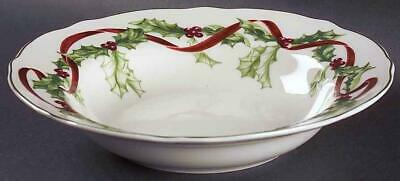 Charter Club Winter Garland Rimmed Soup Bowl Near Mint Holly $0priority Or Fedex