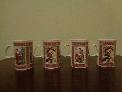 Dunoon White Christmas Mug Set Of 4 Adapted From Original Victorian Prints