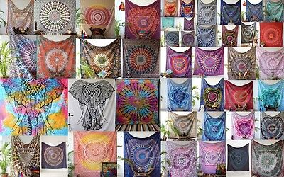 Wholesale Lot  Assorted Cotton Indian Mandala Tapestry Wall Decor Bed-50pc Throw