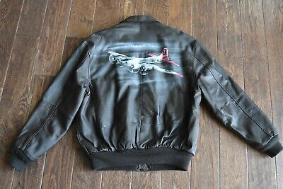 Vintage Painted A2 Leather Bomber Flying Jacket Size L Yankee Lady B-17 Wow