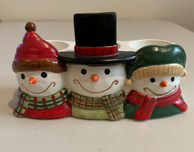 Yankee Candle Snowman Tea Light  Candle Holder Holiday Snow Christmas Winter