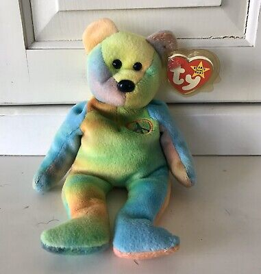 Ty Beanie Babies 1996 Tye Dye Peace Bear Retired W/ Tag Errors & Rare Features
