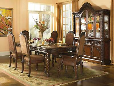 Old World Brown Finish 7 Piece Dining Room Set W/ Rectangular Table