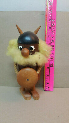 "Rare Vintage  H.a.j Norwegian Wooden Viking Troll Doll 8"" Norway"