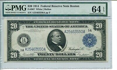 Fr 967 1914 $20 Boston Federal Reserve Note 64 Epq  Choice Uncirculated