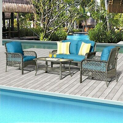 Havenside Home Ketchikan 4-piece Patio Coversation Set With 2 Throw Pillows