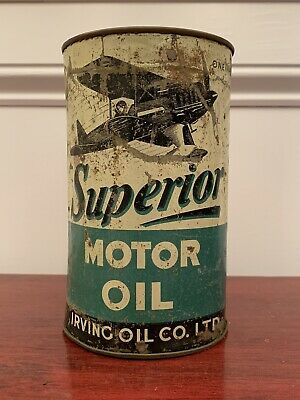 Very Rare Superior Motor Oil One Imperial Quart Irving Oil Co. Ltd. Oil Can