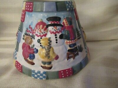Yankee Candle Lg Jar Shade Quilted Snowman With Kids