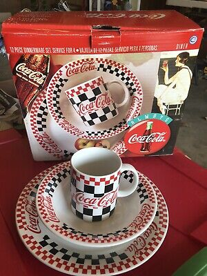 Coca Cola Gibson Housewares 12 Piece Dinnerware Set - Plates, Bowls, Mugs