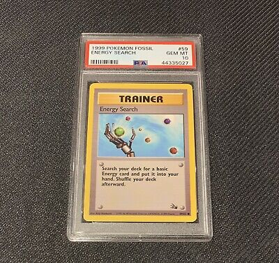 Pokemon PSA 10 Energy Search Unlimited Fossil WOTC 59/62 GEM MINT 1999