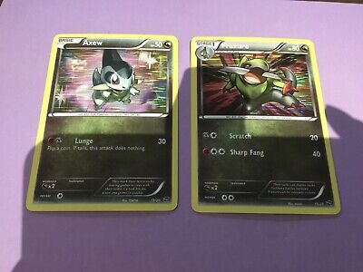 Pokemon Card Holo From Dragon Vault Axew 13/20 And Fraxure 15/20