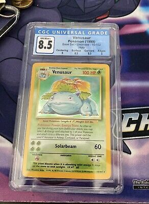 Venusaur Base Set Unlimited 15/102 Holo CGC 8.5 NM/Mint+ Pokemon 1999 SubGrades!