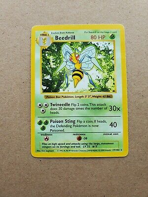 Beedrill Shadowless #17 - 1999 Pokemon Base Set - LP Excellent Condition
