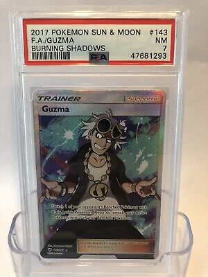2017 Pokemon S&M Burning Shadows #143/147 Full Art GUZMA PSA 7