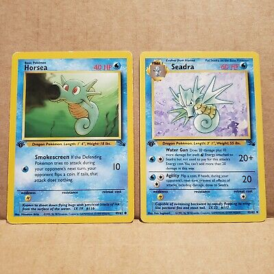 Horsea & Seadra 1st Edition Fossil Set Pokemon Cards