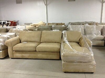 Pottery Barn Pearce Couch Sofa Sectional Oat Everyday Suede Loveseat W/ Chaise