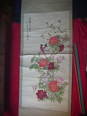 Chinese Wedding/union Scroll, Water Color From The 1980s