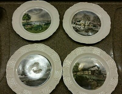 """4 Hallmark Currier & Ives Reproduction Americana Series 10"""" China Ivory Plates"""