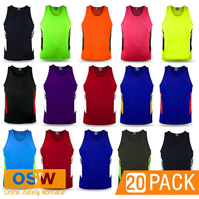 20 X Adults Fitness Cool Dry Sports/oz Tag/club/touch/gym/running/team Singlets