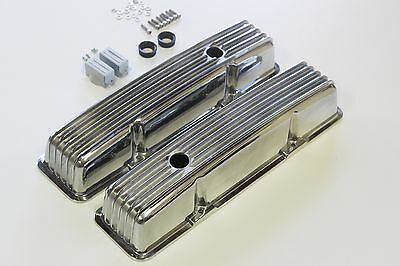 Chev Small Block Tall Nostalgia Style Finned Alloy Rocker Covers 283-327-350-400