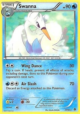 Bw Emerging Powers Pokemon Rare Card - Swanna 27/98
