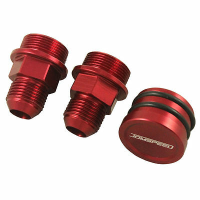 Rear Block Breather Fittings Red And Plug For Catch Can M28 To 10an B16 B18c