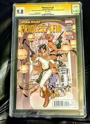 Princess Leia #2 Signed In Gold 4x Creative Team + Carrie Fisher Cgc 9.8 Vhtf