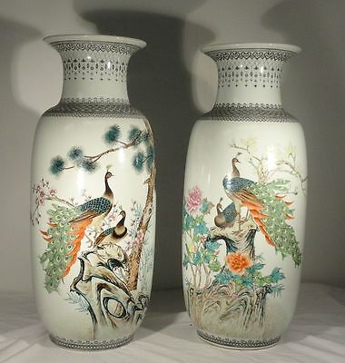 """Massive Vintage Republic Style 20th Century Vases Peacocks 24"""" Inches Tall"""