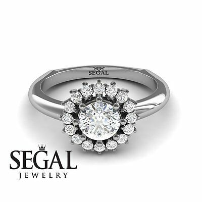 Vintage Diamonds Engagement Ring 17 Diamonds 18k White Gold Main Ston 0.84ct