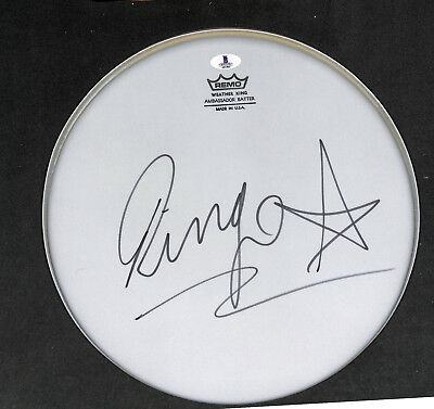 signed autographed ringo starr the beatles drummer drums drumhead beckett bas