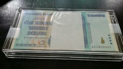 Zimbabwe 100 Trillion Dollars 50pcs Bundle 2, Aa / 2008, Plastic Case Protection