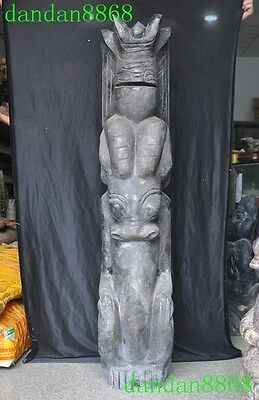 """49""""chinese Hongshan Culture Old Jade Carving Pig Dragon Hook Oxen Sun God Statue"""