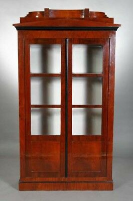 Beautiful Glass-front Cabinet Wardrobe Library In The Biedermeier Style Mahogany