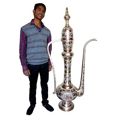 World's Tallest Mughal Style Indian Brass Beer Bottle Exquisite Engraved Enamel