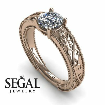 1ct Gorgeous Vintage Art Deco Style  Engagement Diamond Ring 18k Rose Gold
