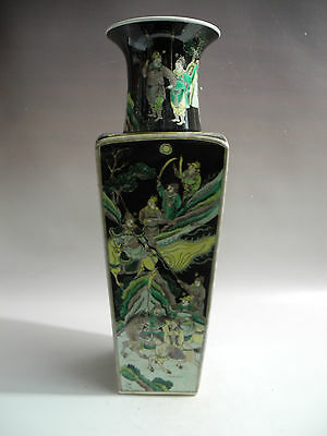 Chinese Huge Square Three Colors Character Story Porcelain Vase Mark-kangxi