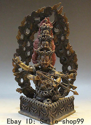 """9"""" Pure Bronze 24k Gold Painting Toxophily King Protection Rahula Buddha Statue"""