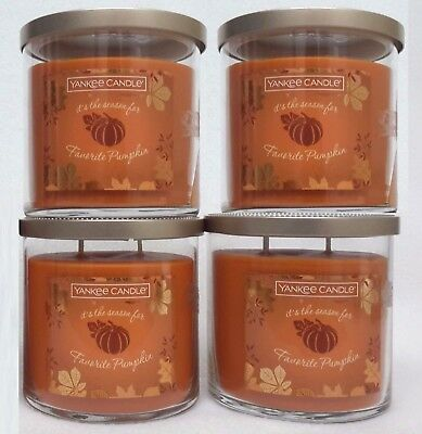 4 Jars Yankee Candle Favorite Pumpkin Scented Candle 40-50 Hr Burning Tm 12.5 Oz