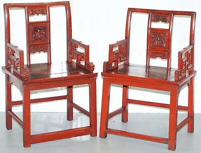 Pair Of Antique 19th Century Chinese Red Lacquered Chairs Lotus Leaf