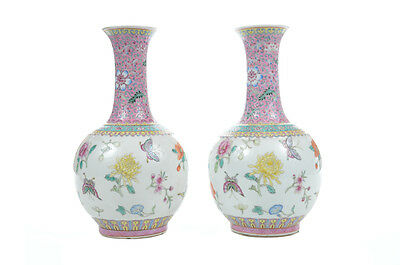 19th Century Chinese Porcelain Famille Rose Lavender Butterfly Vases-a Pair