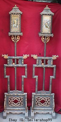 165cm Huge Chinese Wood Carving The Eight Immortals Palace Lamp Lantern Pair
